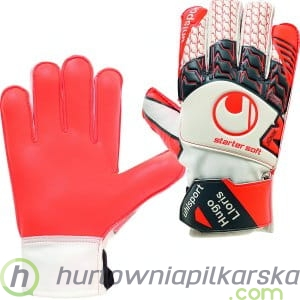 Rękawice bramkarskie Uhlsport AeroRed Lloris Starter Soft - Dark Grey / Fluo Red Junior